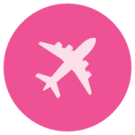 Pink aeroplane international shipping icon